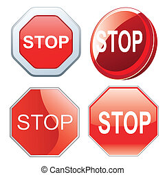 red stop signals - four red stop signals with different...