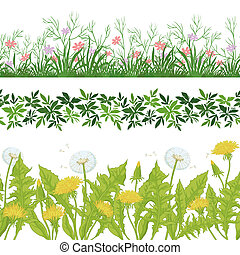 Flowers and grass, set seamless - Set seamless of flowers...