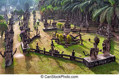Buddha park in Vientiane, Laos. Famous travel tourist...