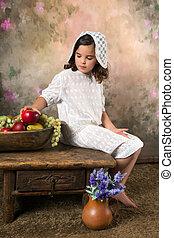 victoriano, niña, fruta, tazón