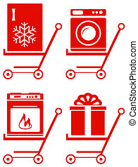 home appliance on shoping cart - set red home appliance on...