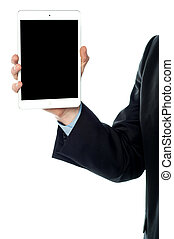 Guy holding tablet pc, cropped image.