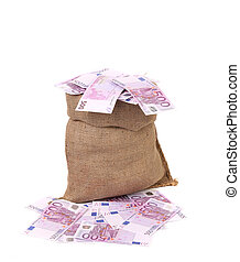 Bag with many euro banknotes.