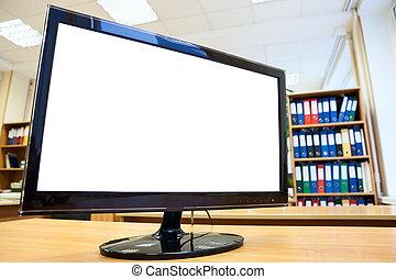 moniteur, bureau, simple, texte, écran, isolé, bureau, blanc...