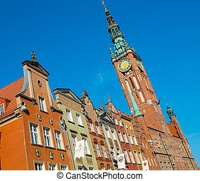 Houses and bell tower in old Gdansk city, Poland