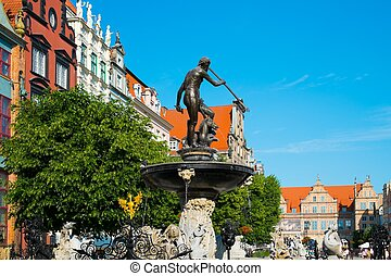 Neptunes Fountain in Gdansk, Poland