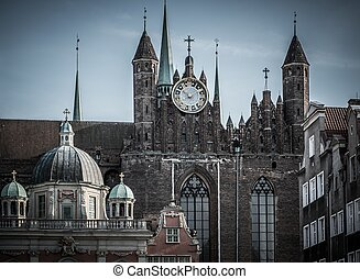 View over old cathedral in Gdansk city, Poland