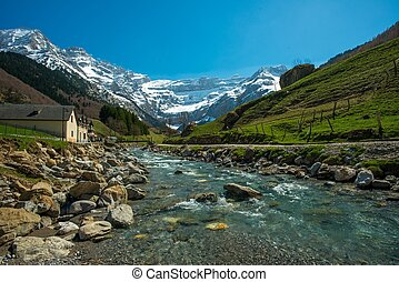 Fast river in Cirque de Gavarnie valley, France