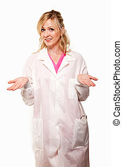 Friendly doctor - Attractive friendly smiling blond lady...