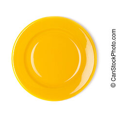 Yellow empty plate on white background