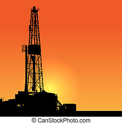 Oil drilling illustration sunset