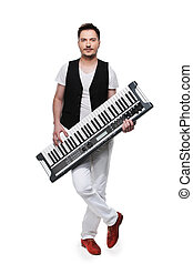 Full length of male musician with synthesizer. Standing isolated over white background