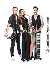 Sexy posing of stylish music band. Three professional musician standing isolated over white background