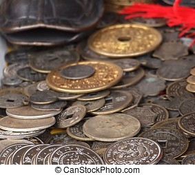 Old Chinese Coins - A collection of antique Chinese silver...