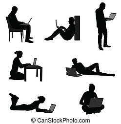 people working on their laptops - vector