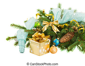 christmas fir tree with golden gift box - christmas tree and...