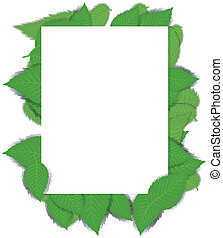 Background with green leaves and a paper page