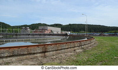 treatment plant pool bird - Turn view of waste sewage water...