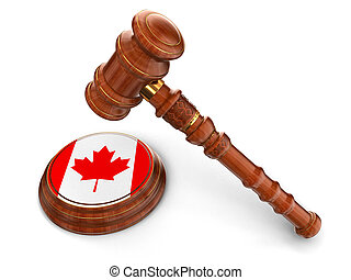Wooden Mallet and Canada flag - 3d wooden mallet and Canada...