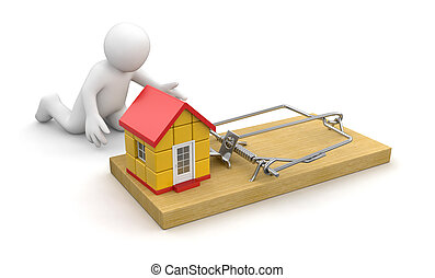 Man and Mousetrap with house. Image with clipping path