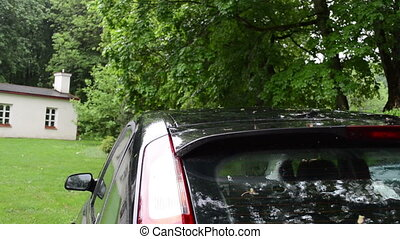 car rain water drop - Fragment of car standing under trees...