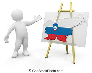 Man and Slovene map - Man and Slovene map. Image with...