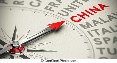 Focus on China - Concept - Compass needle point the counrty...