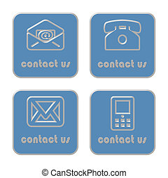 Contact us - Set of Contact us icons on white background