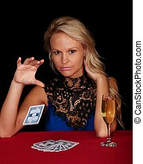 Beautiful Poker Player - Lovely lady poker player dropping a...