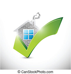 house and check mark illustration