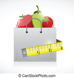grocery bag and measure tape illustration design over a...