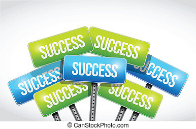 multiple success road signs