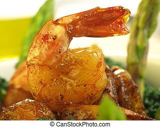 fritado, camarão, closeup