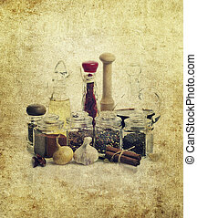 Spices,Cooking Oil And Vinegar - Rusty Style Image Of...