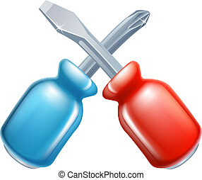 Screwdrivers crossed tools icon of cartoon tools crossed,...