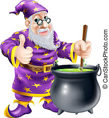 Wizard and cauldron - A friendly old wizard character...