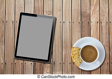 Tablet computer Wood Table with hot coffee