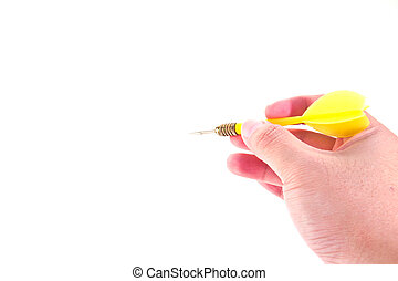 yallow dart in hand, isolated on white