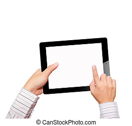 Hands with tablet computer. Isolated on white background.