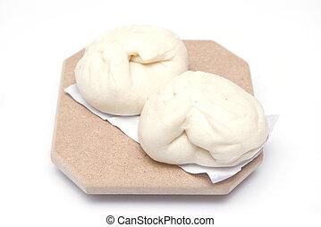 steamed dumpling isolate on white background,