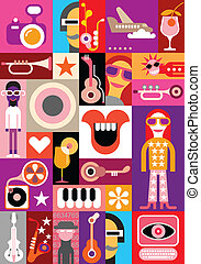 Party - vector collage Patchwork seamless wallpaper