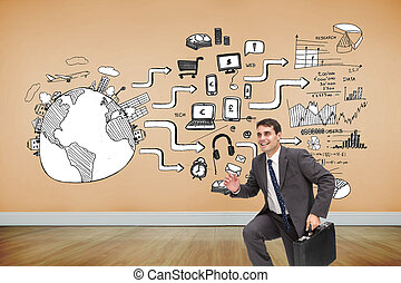 Composite image of cheerful businessman in a hury -...