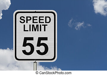 Speed Limit 55 Sign - A white American road sign with words...