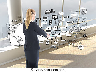 Composite image of businesswoman pulling a rope - Composite...
