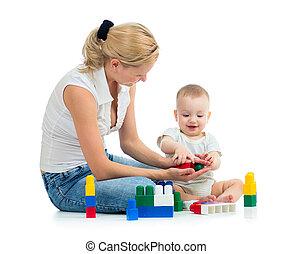 baby, spielen, Spielzeuge, zusammen, Mutter