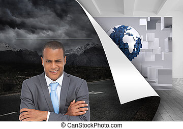 Composite image of doubtful young businessman with arms...