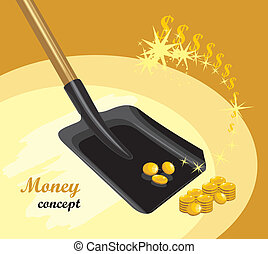 Shovel with golden coins. Money concept. Vector illustration