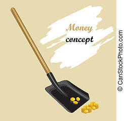 Raking shovel a golden coins Money concept Vector...