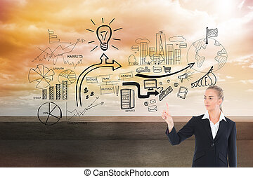 Composite image of young blonde business woman pointing -...