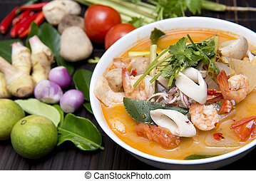 Tom Yum Goong thai food with ingredient for cooking - Tom...